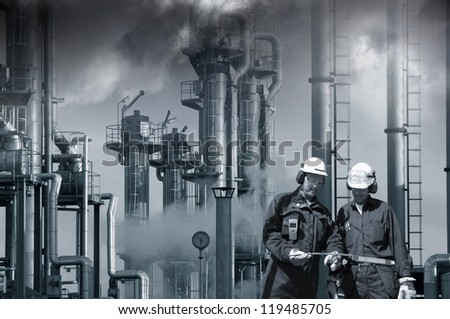 two refinery workers with industrial plant in background, dark toxic clouds, smog and smoke