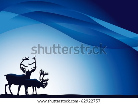 two reindeer on a blue background