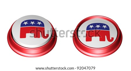 Two Republican Party Buttons. One in the up position and the other in the depressed position. Vote. Isolated on a white background.