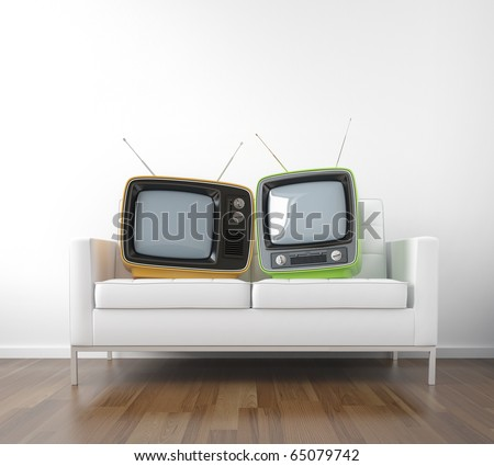 two retro tv in a couch as a metaphor of couple watching television conceptual scene with copy space
