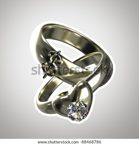 "Two rings as an illustration for ""marriage of convenience"" isolated with a white stroke"