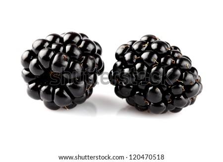 Two ripe blackberry in closeup
