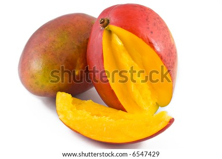 two ripe mangoes isolated on white