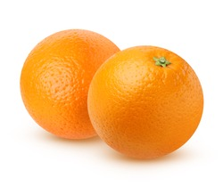 Two ripe orange isolated on white background, with shadows. The orange fruit entirely.
