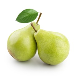 Two ripe pears with leaf isolated on white