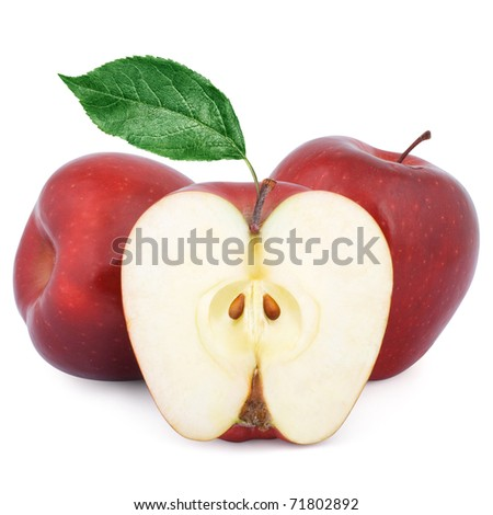 Two ripe red apples and half of apple isolated on a white background.