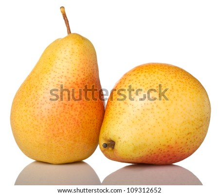 Two ripe red-yellow pears isolated on white background
