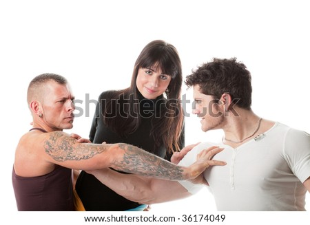 Two rival man fighting for one girl; isolated on white - stock photo