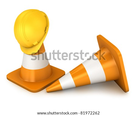 Two road cones and yellow helmet isolated on white background