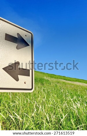 Two road signs pointing in opposite directions with green grass and blue sky in the background.