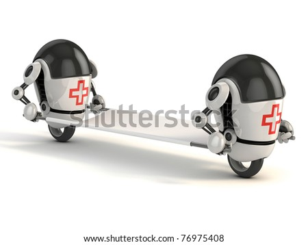 two robot medic with the stretcher - 3d rendering of the funny cartoon like robots as first aid