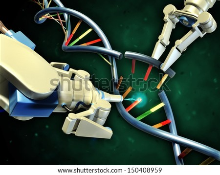 Two robotic arms modifying a dna helix Digital illustration