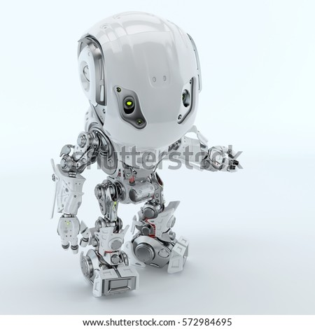 Two robotic bbot robots back to back in grey & red colors. 3d render #572984695