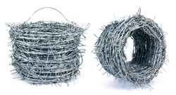 Two roll barbed wire fence isolated on white background. Roll of barbwire with carry handle isolated