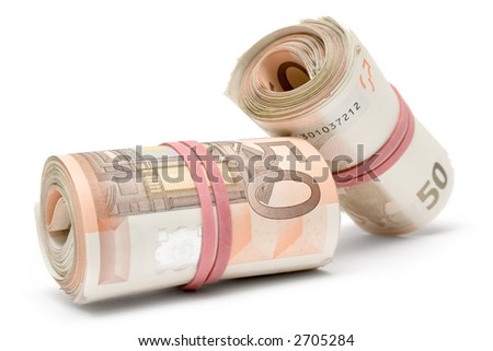 Two Rolls of Euro Bills