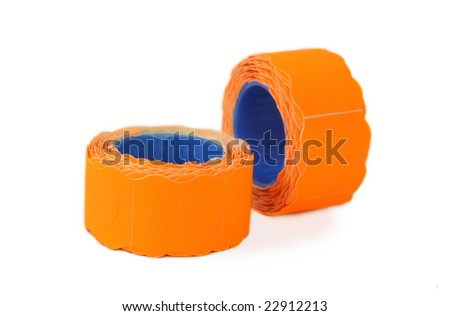 Two rolls of orange self-adhesive labels on white background