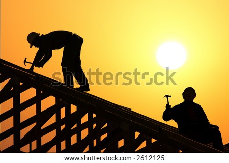 two roofer - stock photo