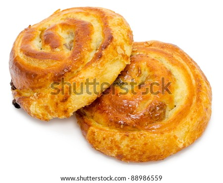 two round baked buns with jam filling