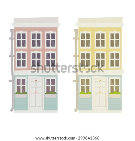 Two row houses illustration. Pink and yellow house buildings, windows with flowers