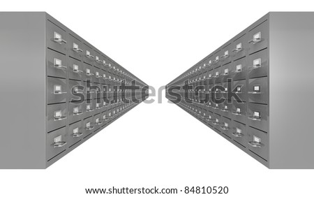 two rows of file drawer (3d render)