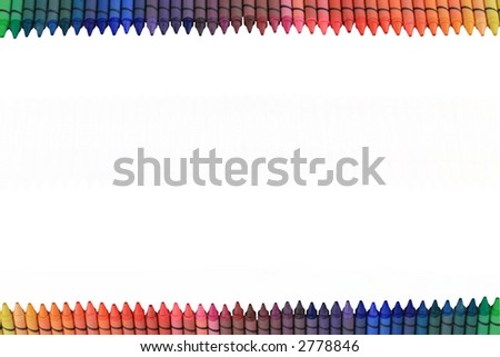 Two rows of rainbow crayons isolated for border