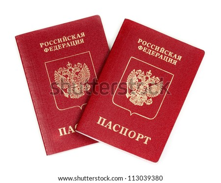 Two Russian international passport isolated on white background