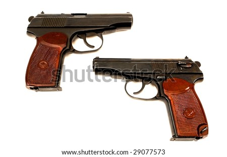 Russian Hand Guns http://www.shutterstock.com/pic-29077573/stock-photo-two-russian-mm-handguns.html