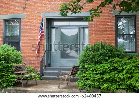 Brick Federal Style http://www.shutterstock.com/pic-62460457/stock-photo-two-rusty-benches-sit-on-the-concrete-porch-outside-a-historic-brick-federal-style-home-in-the-usa.html