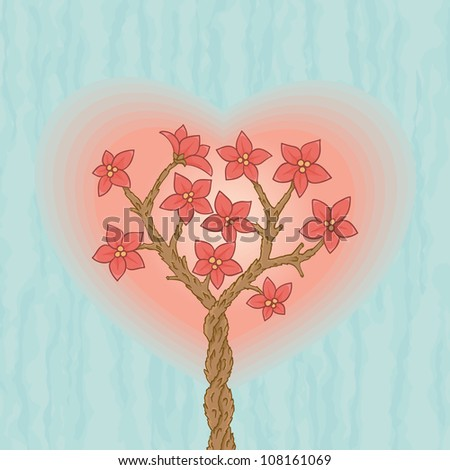 Two sakuras love each other with blossom flowers and heart shape