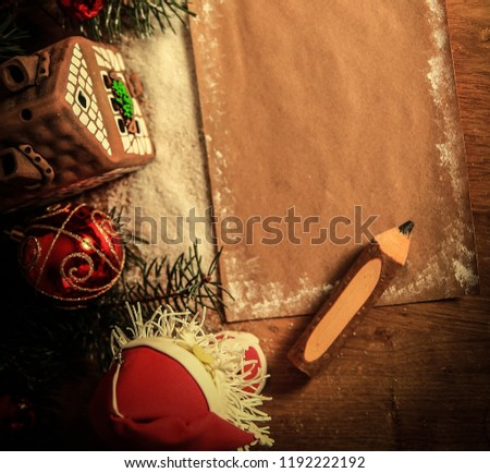 two Santa Claus and blank sheet for Christmas greetings . #1192222192