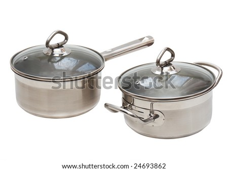 Two Saucepans, made of  stainless steel with long handle,cover, on wjite background. Isolated