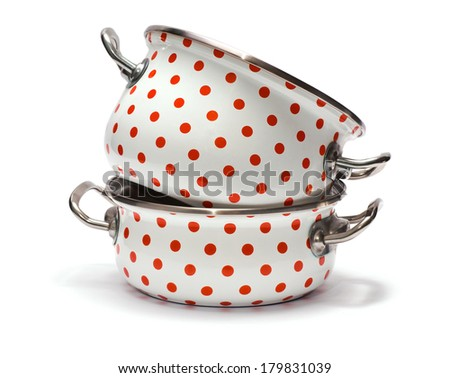 Two Saucepans with Red Dots isolated on white