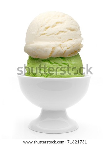 Two scoops of ice creams in bowl on white background