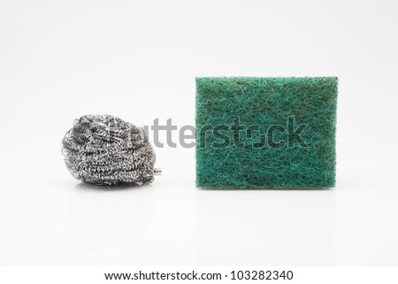 two scourer steel wool and green fiber
