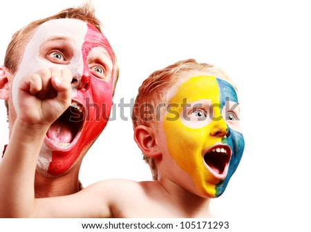 Two screaming fans - Poland Ukraine with painted faces in national colors