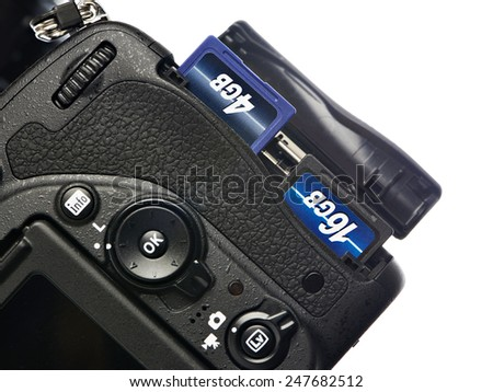 Two SD memory flash card in DSLR camera