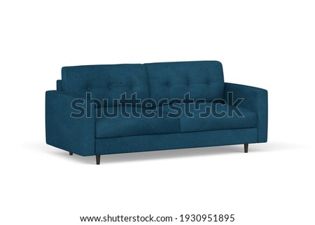 Two seater sofa in blue velvet fabric with wooden legs on white background - 3d render Foto stock ©