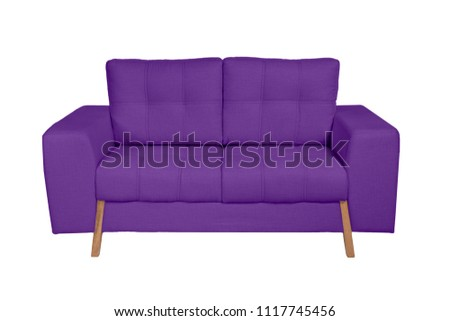 Two seats cozy white fabric sofa isolated on white background #1117745456
