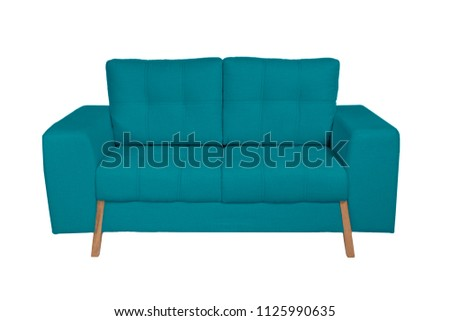 Two seats cozy white fabric sofa isolated on white background #1125990635
