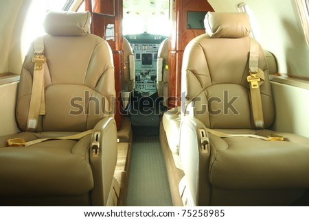 Two seats in the front part of the private jet cabin