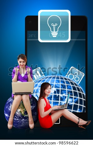 Two secretaries and Light Bulb icon from mobile phone : Elements of this image furnished by NASA