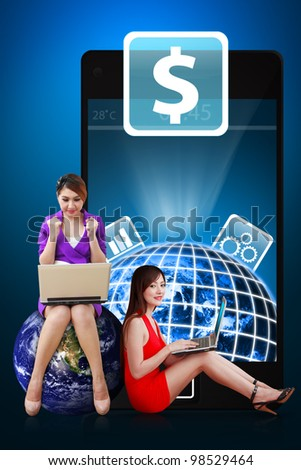 Two secretaries and Money icon from mobile phone : Elements of this image furnished by NASA