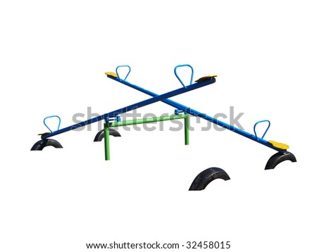 Two See Saws isolated with clipping path.