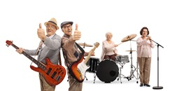 Two senior guitarist showing thumbs up, a lady drummer and a female singer in a music band isolated on white background