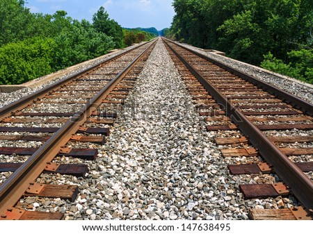 Two Sets Of Railroad Tracks Run Straight And Parallel To A Vanishing Point On The Horizon With Green Trees Along Side.