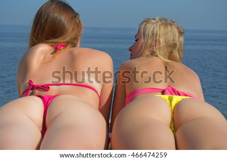 in thongs beach on Sexy girls