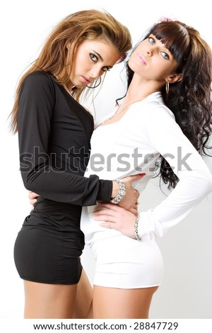 stock photo : two sexy girls isolated over white background