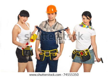 stock photo : Two sexy workers women holding shoulder straps of overalls ...