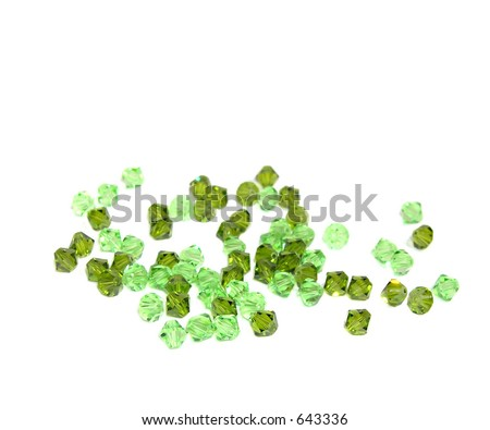 two shades of green swarovski / crystal beads