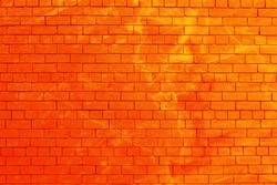 Two shades of orange brick wall with stain background.
